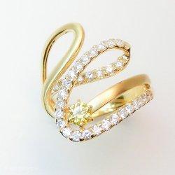 ファンシーインテンスオレンジイエローダイヤモンド デザインリング YD 0.176ct D 0.48ct K18YG 中央宝石研究所ソーティング付