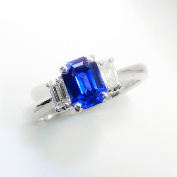 特選品質サファイア ダイヤモンドリング SA 0.82ct D 0.20ct Pt900