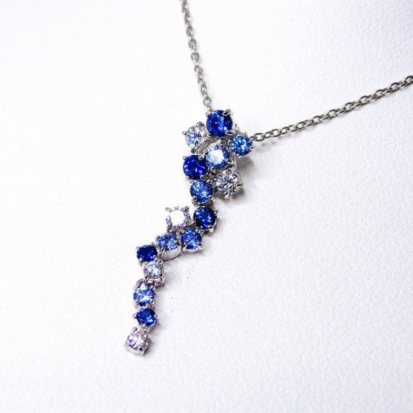 サファイア ダイヤモンドグラデーションネックレス SA 0.55ct D 0.25ct Pt900 45cm