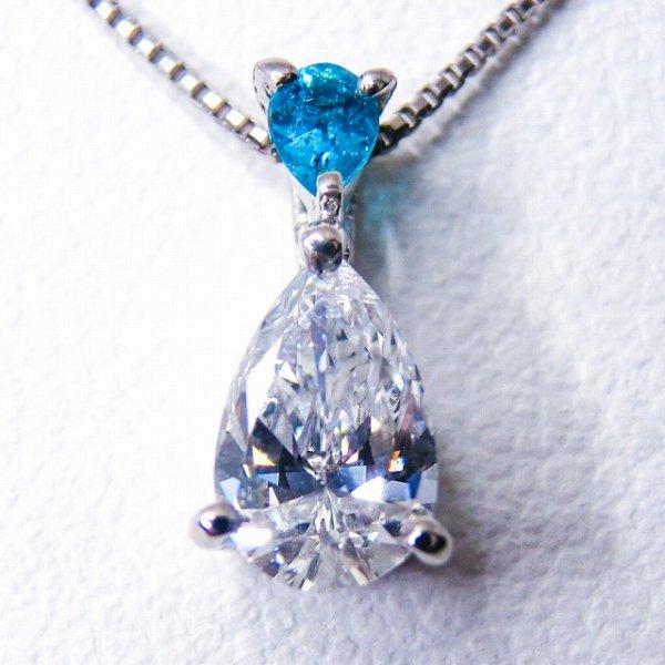 ペアシェイプダイヤモンド パライバトルマリンネックレス ブラジル バターリア産 D 0.427ct PA 0.062ct E-I1 中央宝石研究所ソーティング付