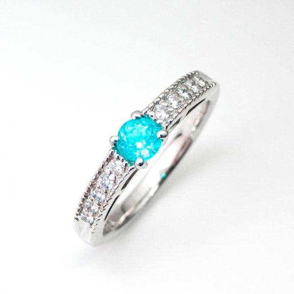 パライバトルマリン H&Cダイヤモンドリング ブラジル産 PA 0.226ct D 0.11ct Pt900 中央宝石研究所鑑別分析書取得予定