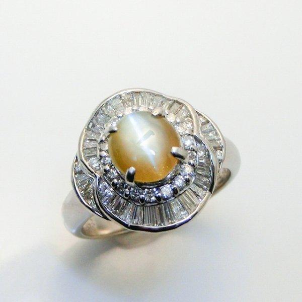 クリソベリルキャッツアイ ダイヤモンドリング CE 1.43ct D 0.75ct Pt900