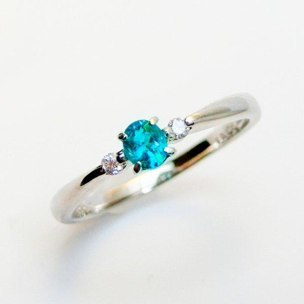 ブラジル バターリア産パライバトルマリン ダイヤモンドリング PA 0.121ct D 0.03ct Pt900 中央宝石研究所鑑別分析書付