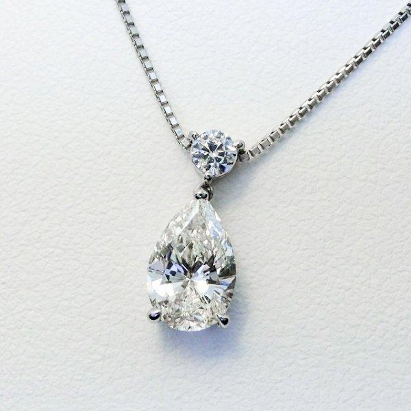 ペアシェイプダイヤモンドネックレス D 1.017ct I-SI2 D 0.10ct 45cm Pt900 中央宝石研究所鑑定書