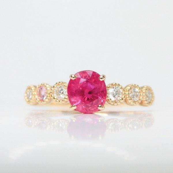 ルビー ダイヤモンド ピンクサファイアリング R 0.79ct D 0.15ct SA 0.02ct K18YG C-LINE