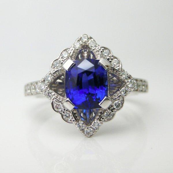特選ロイヤルブルーカラーサファイア ダイヤモンドリング SA 1.50ct D 0.27ct Pt900 AIGS鑑別書付