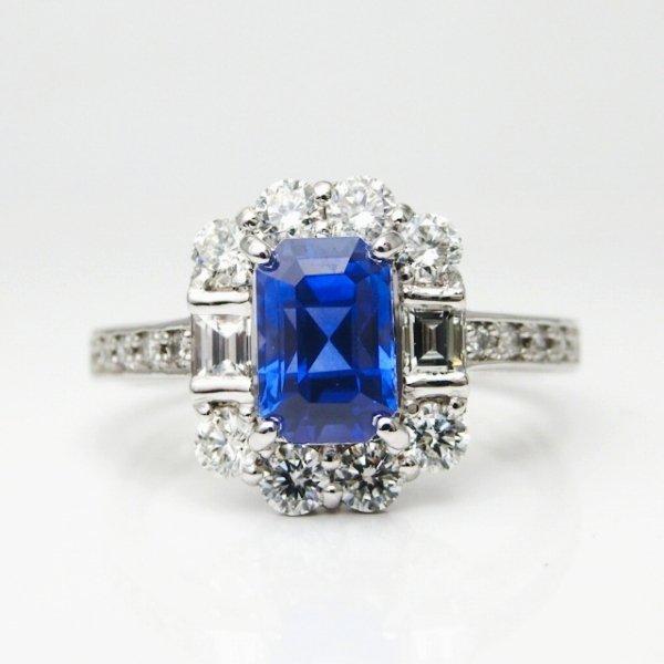 特選コーンフラワーカラーサファイア ダイヤモンドリング SA1.63ct D 0.73ct Pt900 AIGS鑑別書付