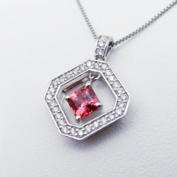 非加熱パパラチアサファイア ダイヤモンドネックレス PDS 0.417ct D 0.15ct 45cm Pt900 DGL鑑別書付