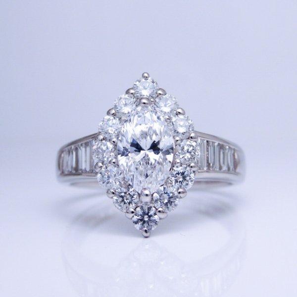 Dカラー マーキスダイヤモンドリング D 0.734ct D-VS1 D 1.00ct Pt900 中央宝石研究所鑑定書付