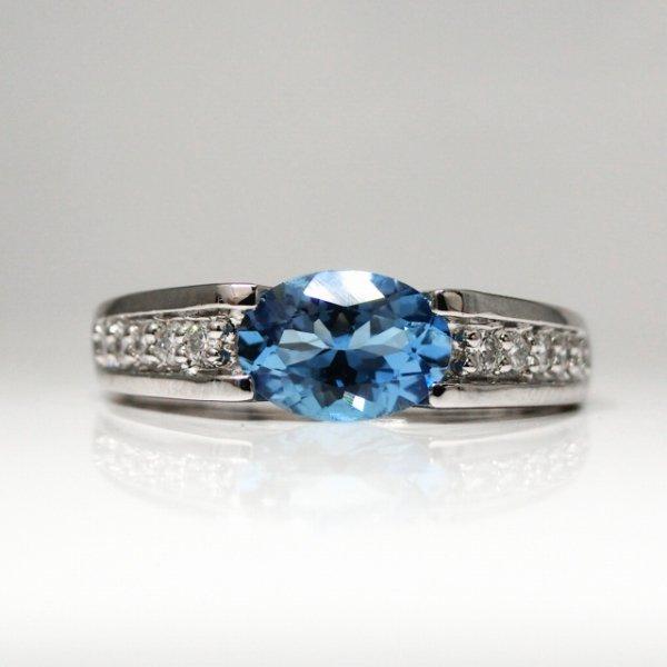 サンタマリアアクアマリン H&Cダイヤモンドリング AQ 0.619ct D 0.11ct Pt900 GGSJ鑑別書付