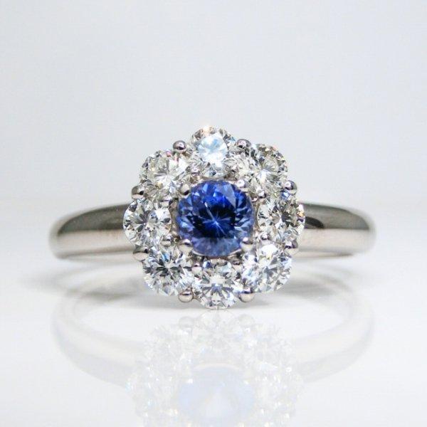 ベニトアイト H&Cダイヤモンドリング BI 0.241ct D 0.52ct Pt900 日独宝石研究所鑑別分析書付