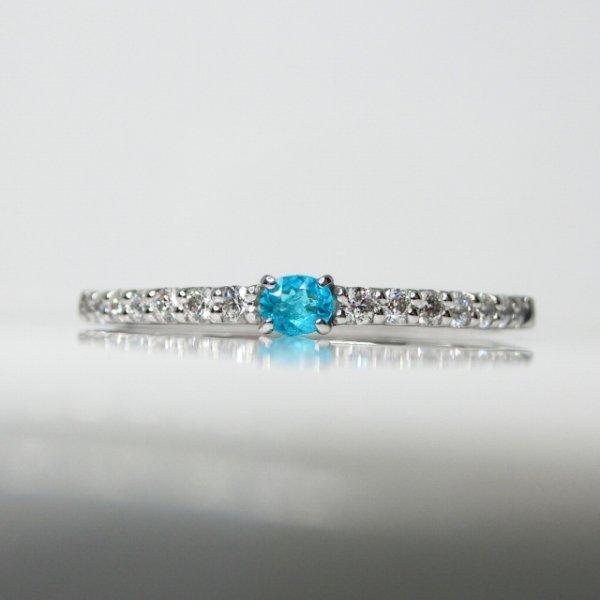 ブラジル バターリア産パライバトルマリン H&Cダイヤモンドリング PA 0.046ct D 0.13ct Pt900 GGSJ鑑別書付