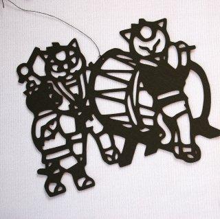 ◆ハンドメイド◆緑川ヨウ/切り絵/竿燈猫・お囃子