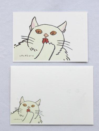 ◆ハンドメイド◆nenekoro/ポストカード・封筒セット/白猫さん