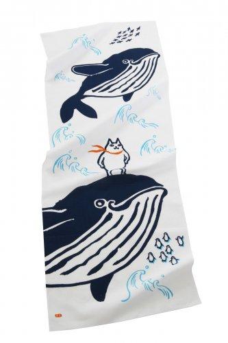 手ぬぐい/猫と鯨/くまくら珠美