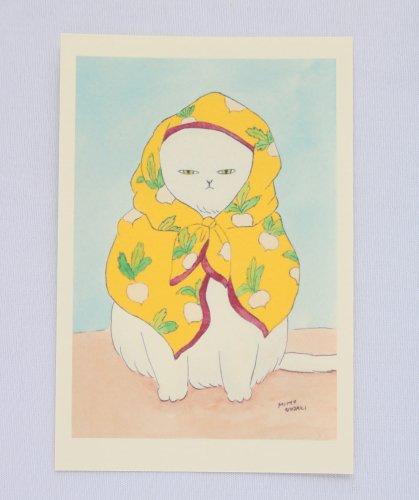 ◆ハンドメイド◆Zacchino!/ポストカード/かぶとスカーフの猫