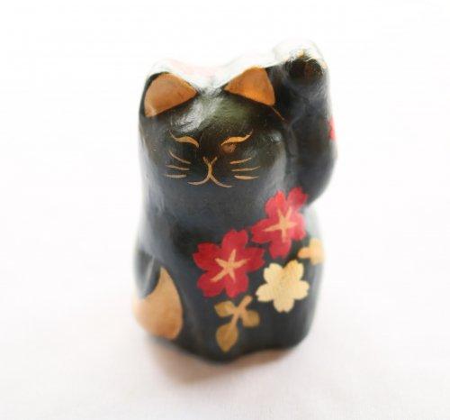 和紙 招き猫/ペーパーキャット/桜/黒
