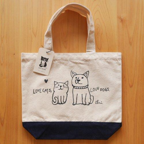トートバッグS/ナチュラル×ネイビー/Love cats, Love dogs/カミムラアキコ