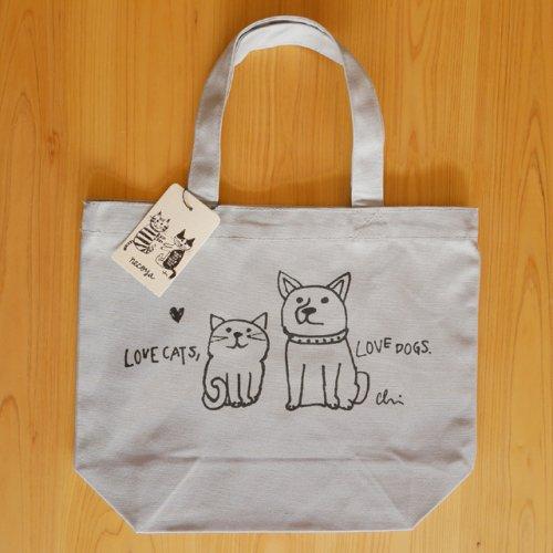 トートバッグS/シルバーグレー/Love cats, Love dogs/カミムラアキコ