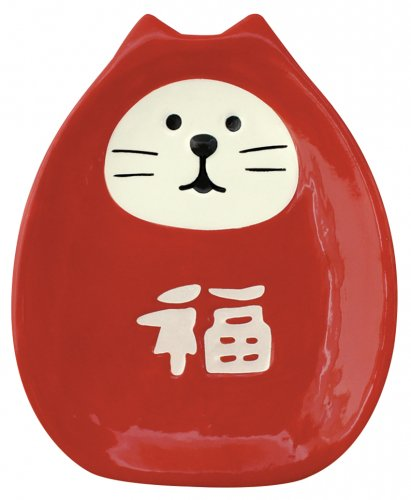 福猫だるま豆皿/赤/デコレ/concombre