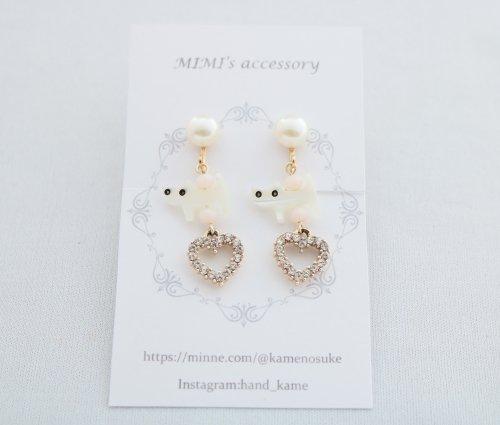 ◆ハンドメイド◆MIMI's accessory/イヤリング/シェルネコ&ストーンハート
