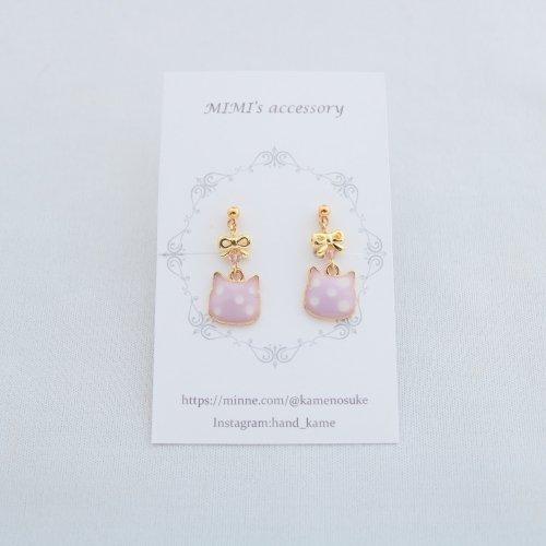◆ハンドメイド◆MIMI's accessory/イヤリング/リボン&水玉