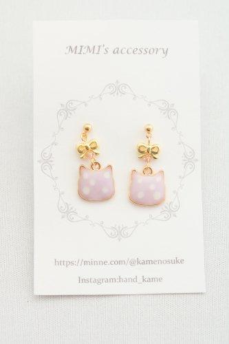 ◆ハンドメイド◆MIMI's accessory/ピアス/リボン&水玉にゃんこ