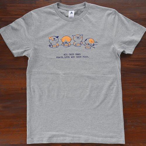 にゃんきーとすTシャツ/ごはん/ヘザーグレー/necoya