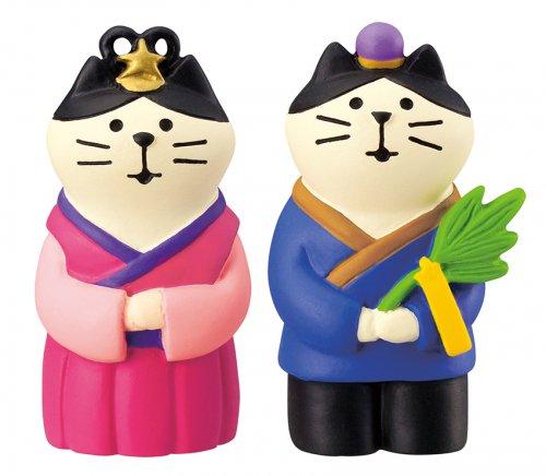 七夕/織姫猫と彦星猫/デコレ/concombre