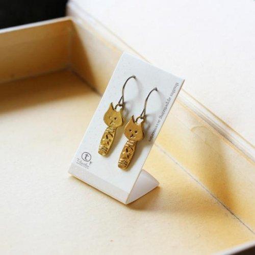 ◆ハンドメイド◆ピアス/ねこけし気を付け/thuthu appetizing accessories