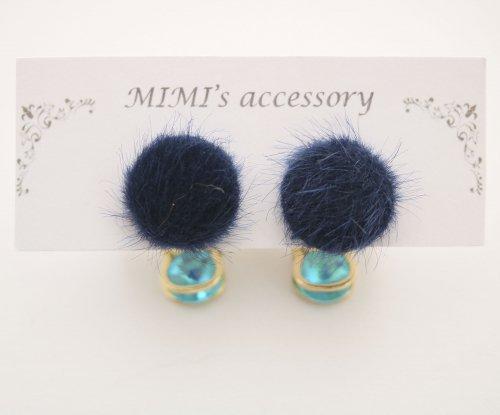 ◆ハンドメイド◆MIMI's accessory/ピアス/ファーカボション&ブルーストーン