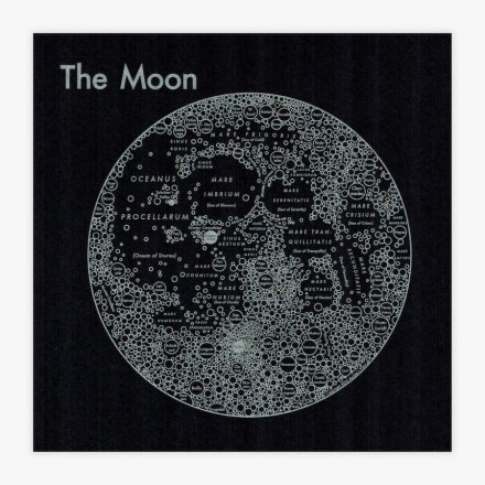 LETTER PRESS PRINT MOON(silver on black)