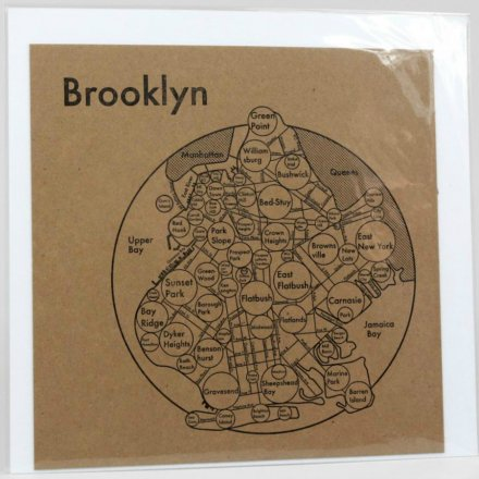 LETTER PRESS PRINT BROOKLYN (black on brown)