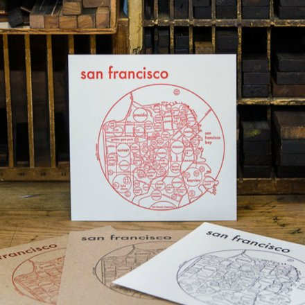 LETTER PRESS PRINT SAN FRANCISCO (red on white)