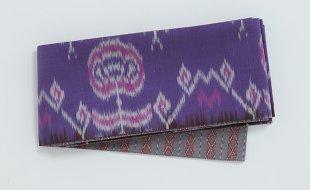 タイシルク半幅帯 紫花柄