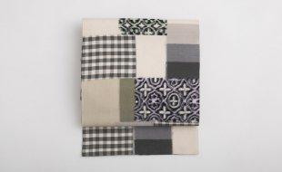 「花邑」名古屋帯 格子縞に幾何学文様 絣織り