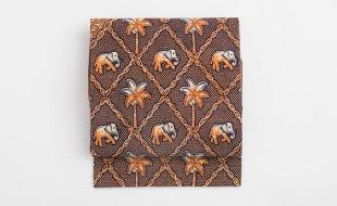 「花邑」名古屋帯 菱に象とヤシの木文様 和更紗