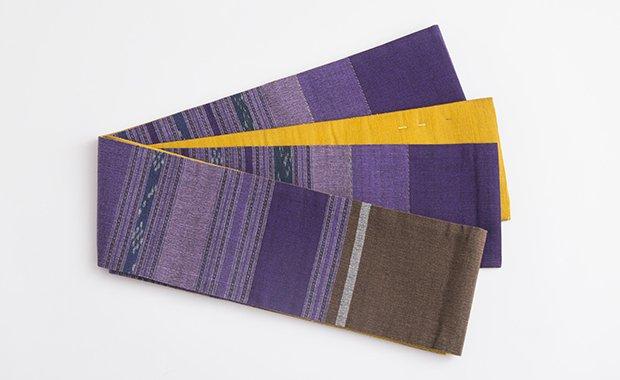 紫縞(綿)×無地タイシルク半幅帯