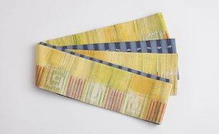 黄幾何学絣×紺縞タイシルク半幅帯