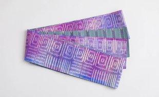 赤紫幾何学絣×紺縞タイシルク半幅帯