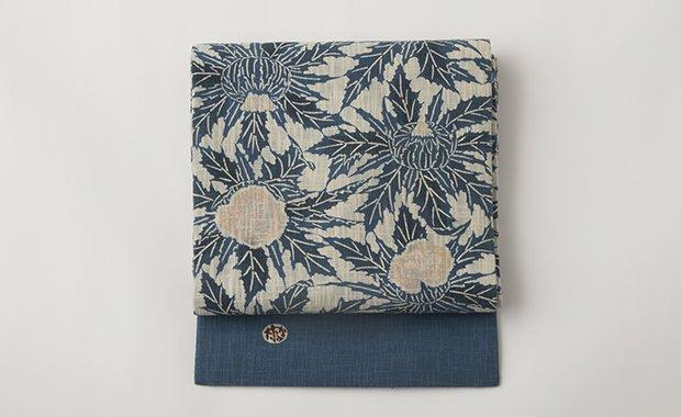 「きもの はちす」正藍地花文型絵染綿名古屋帯