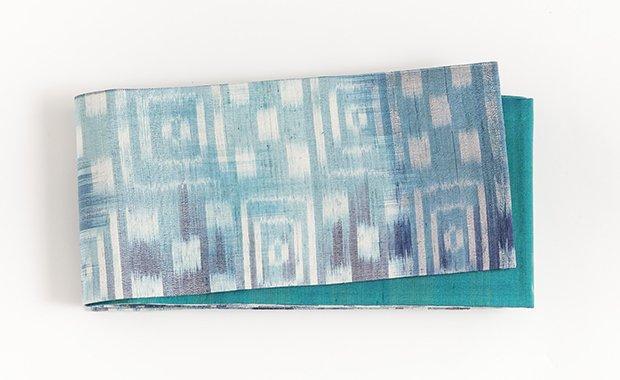 水色市松×濃浅葱色絣タイシルク半幅帯