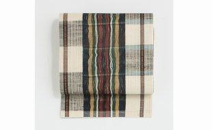 「きものはちす」練色間道文様櫛織袋帯