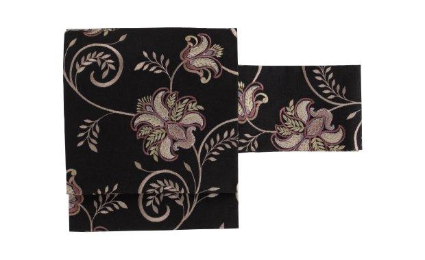 「ギャラリー凛」インド刺繍名古屋帯 紫花唐草