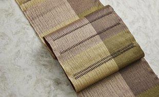 杉村織物 手機捩り織袋帯 ボルドー×ゴールド