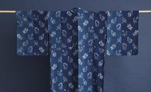 藍地木の葉傘いろいろ絣文木綿