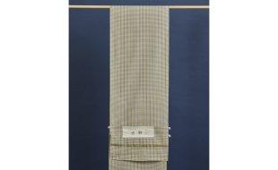 米沢紬(反物)黄色×グレーの格子