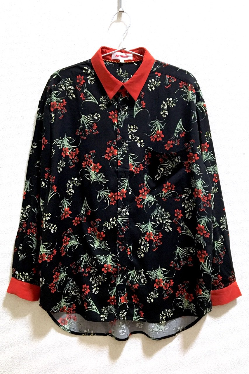 FLOWER PATTERN SHIRT  BK / WH / NV