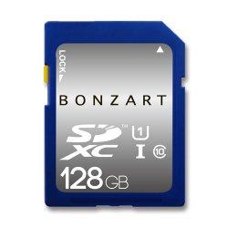 SDカード 128GB CLASS10 UHS-1<br>BONZRT ボンザート<br>SDXC 128ギガ クラス10 UHS-1<br>永久保証付き(メール便対応)