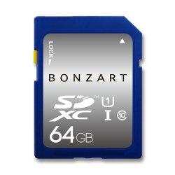 SDカード 64GB CLASS10 UHS-1<br>BONZRT ボンザート<br>SDXC 64ギガ クラス10 UHS-1<br>永久保証付き (メール便対応)